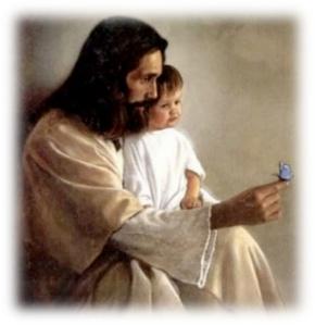 Jesus - Child - blue butterfly